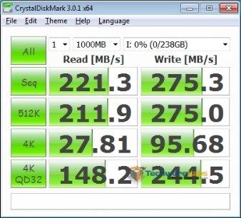 ADATA Premier Pro SP900 256GB CrytalDiskMark Benchmark
