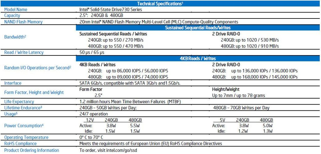 intel ssd 730 specifications