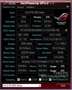 Asus R9 280X OC GPUZ