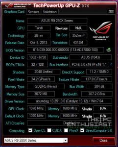 Asus R9 280X Stock GPUZ