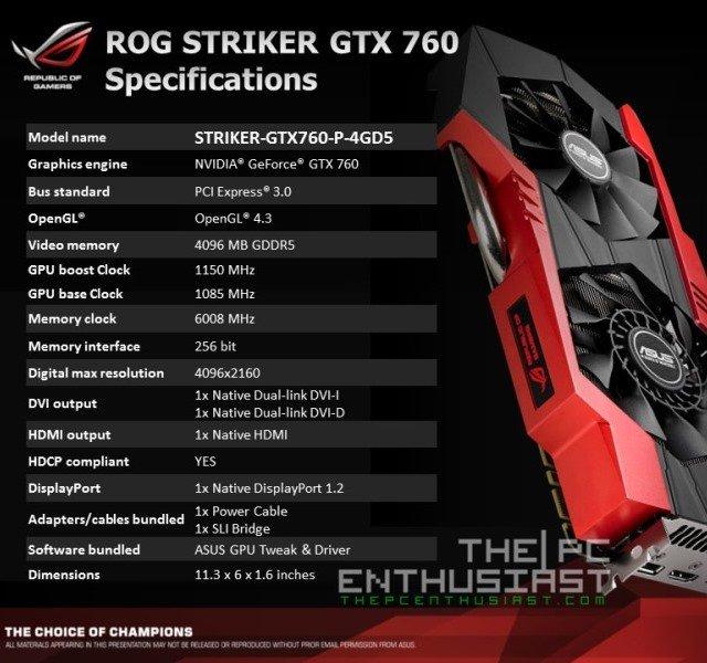 Asus ROG Striker GTX 760 Platinum Specifications
