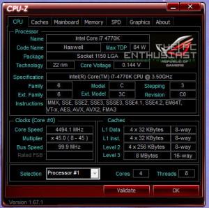 Intel Core i7 4770k OC CPUZ