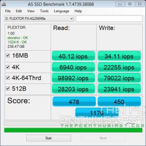 Plextor PX-AG256M6e AS SSD Benchmark IOPS