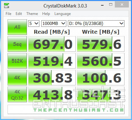 Plextor PX-AG256M6e CrystalDiskMark Benchmark