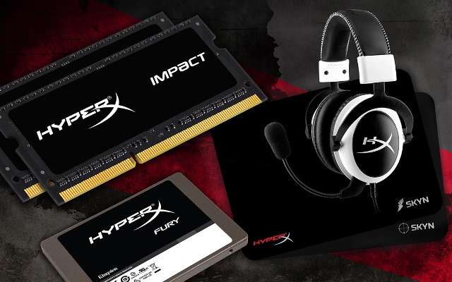 Kingston HyperX Impact SO-DIMM, FURY SSD, White Cloud Headset, and Skyn Mousepad Unleashed