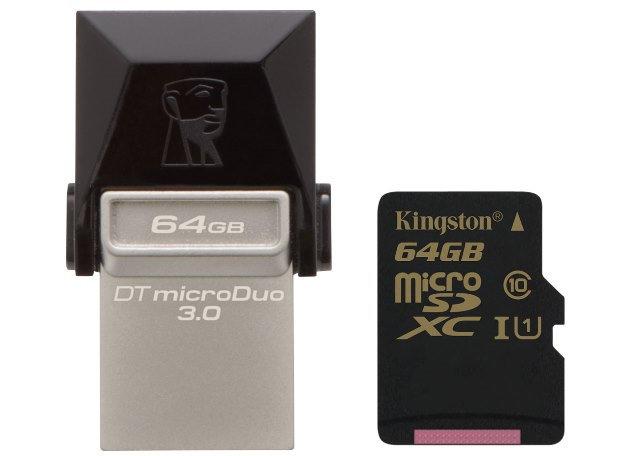 Kingston DataTraveler microDuo 3.0 OTG Flash Drive and Class 10 UHS-I 90R/45W microSDHC/SDXC card Released