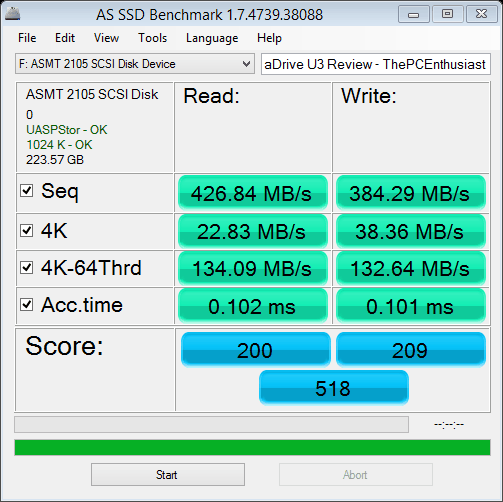 Akitio aDrive U3 AS SSD Read Write Benchmark