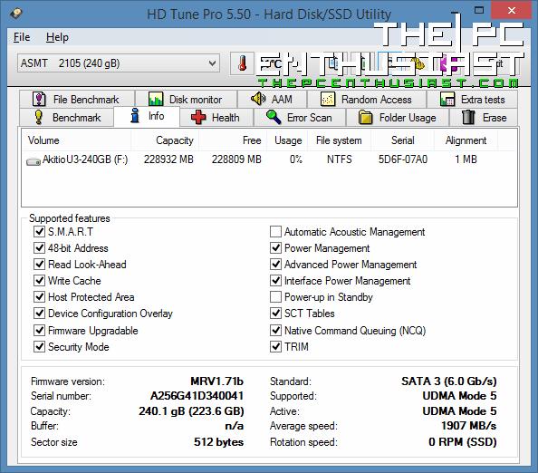 Akitio aDrive U3 HD Tune Pro Info