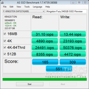 Kingston HyperX Fury 240GB AS SSD iops Benchmark
