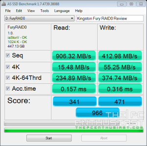Kingston HyperX Fury RAID 0 AS SSD Benchmark
