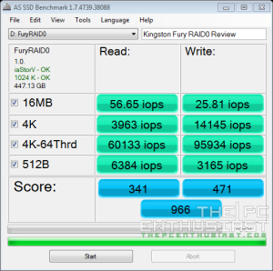 Kingston HyperX Fury RAID 0 AS SSD iops Benchmark