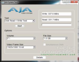 WD Red 5TB RAID 0 AJA 1080p Benchmark