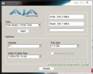 WD Red 5TB RAID 0 AJA 720p Benchmark