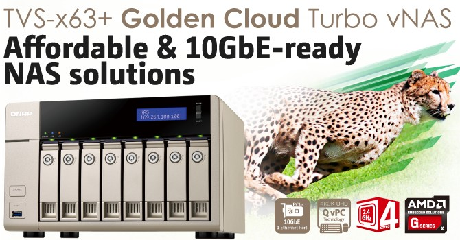 QNAP TVS-863+ Golden Cloud Turbo 10GbE-ready vNAS powered by AMD Quad Core CPU