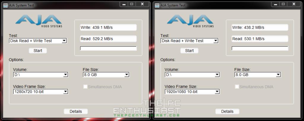 Crucial BX100 SSD Benchmark - AJA system