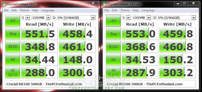 Crucial BX100 SSD Benchmark - CrystalDiskMark