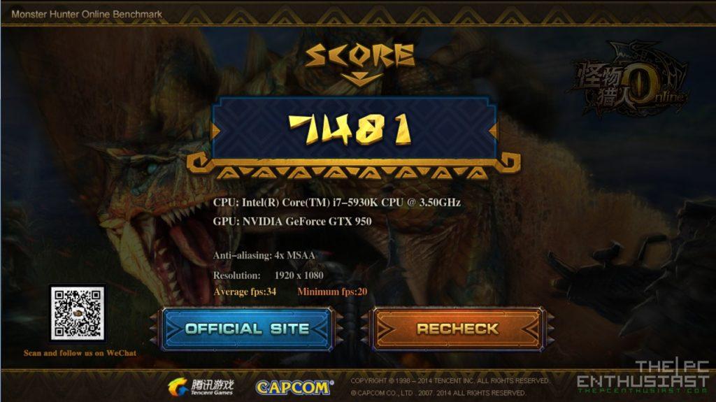 Zotac GTX 950 AMP Monster Hunter Online Benchmark