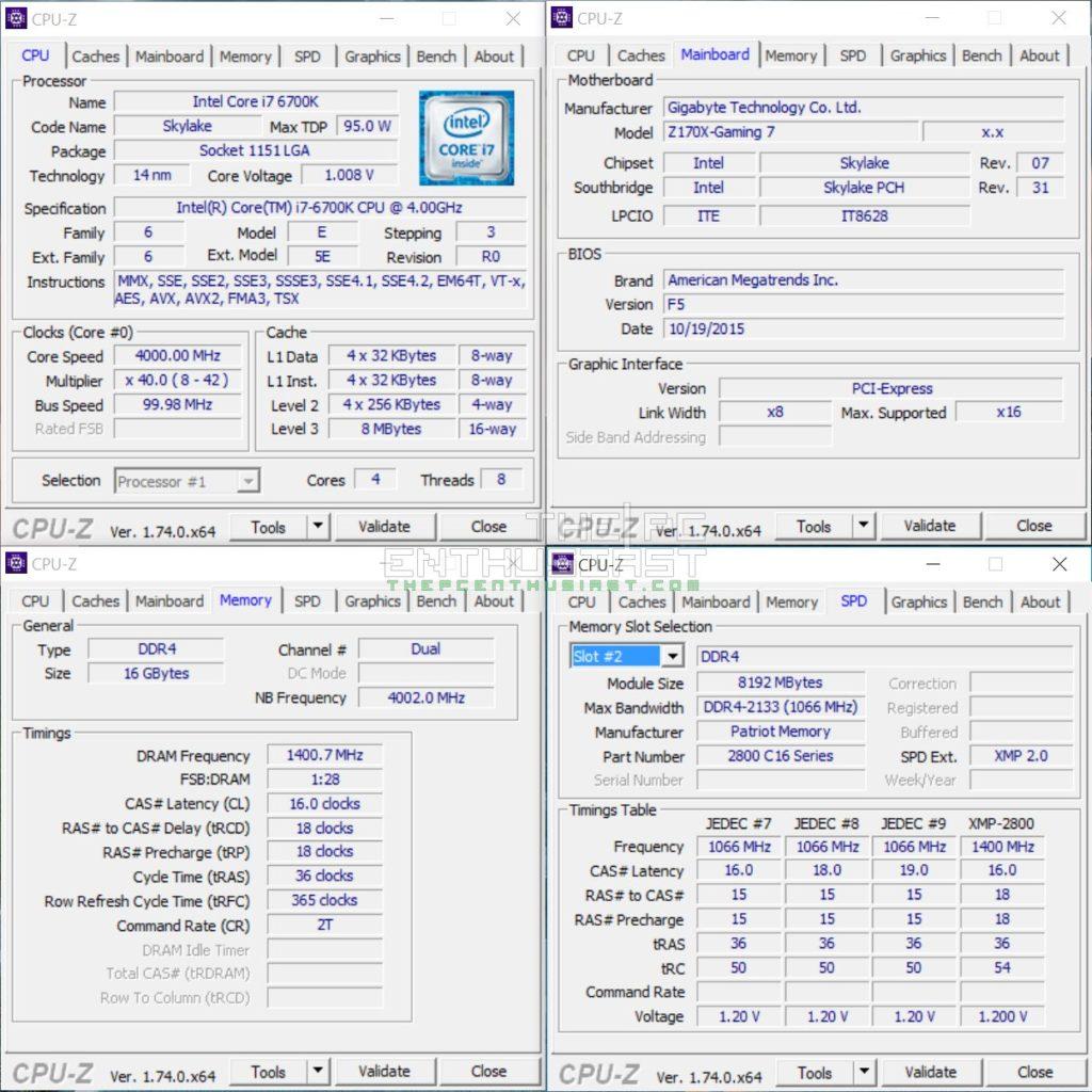 Patriot Viper 4 DDR4 2800 XMP CPU-Z