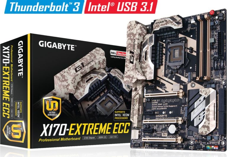 Gigabyte X170-Extreme ECC Motherboard Released – First Intel Thunderbolt 3 C236 Chipset Motherboard