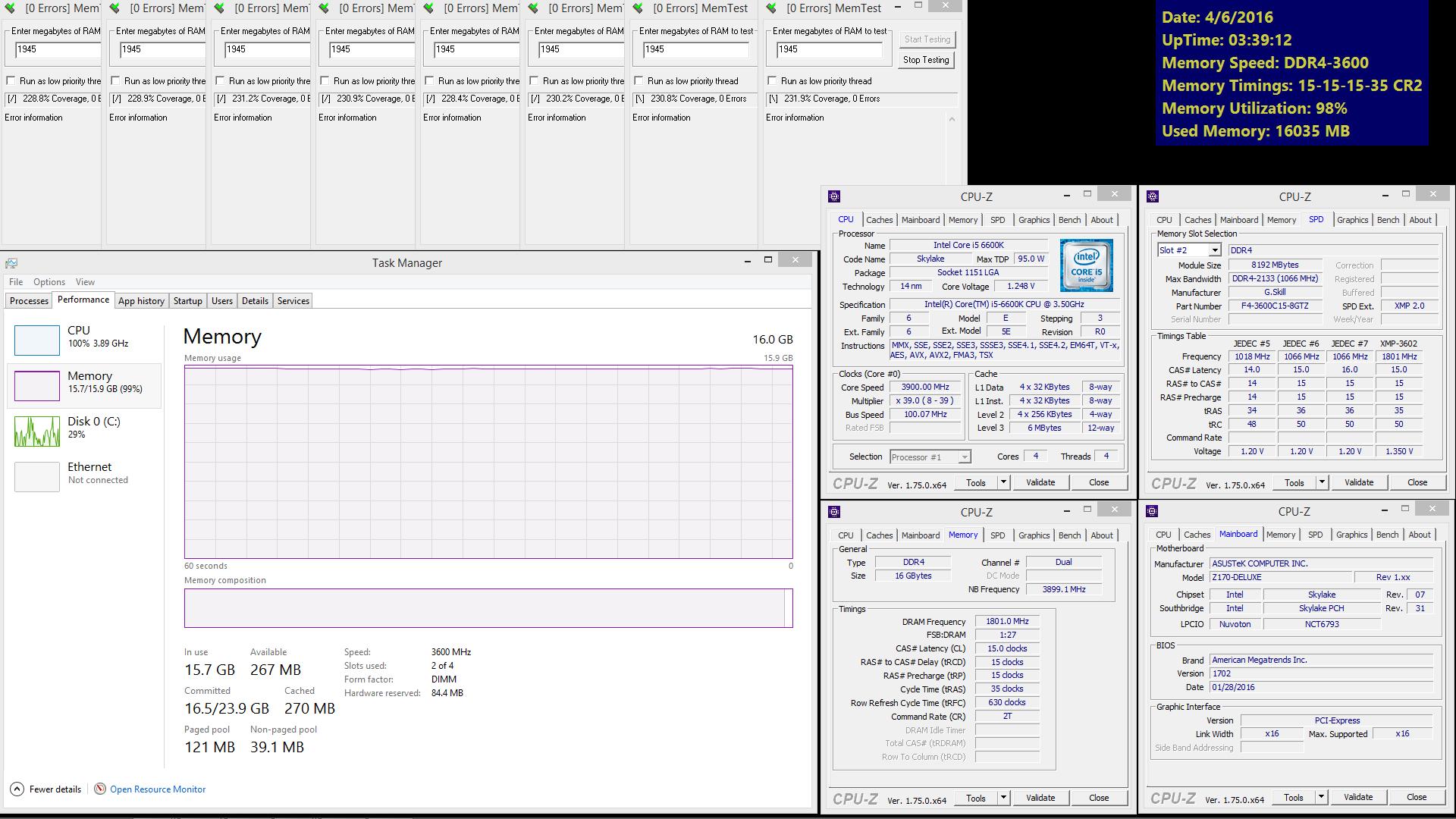 G SKILL Trident Z DDR4-3600MHz CL15 16GB (8GBx2) Low-Latency