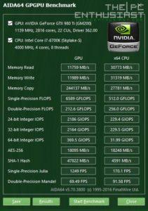 GA-Z170N Gaming 5 AIDA64 GPGPU Benchmark