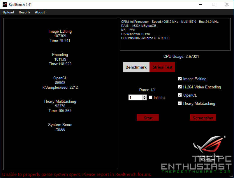 GA-Z170N Gaming 5 RealBench Benchmark