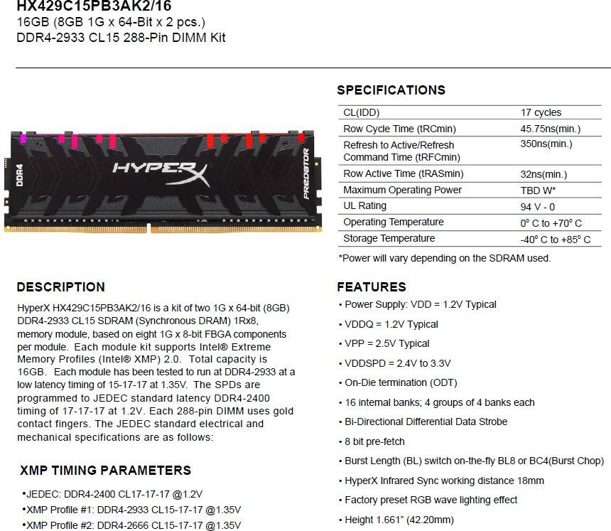 HyperX Predator RGB DDR4-2933 16GB Kit Specifications