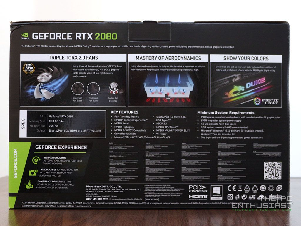 MSI GeForce RTX 2080 DUKE 8G OC Review - Fast and Silent
