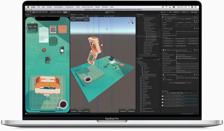 具有Unity的Apple 16英寸MacBook Pro