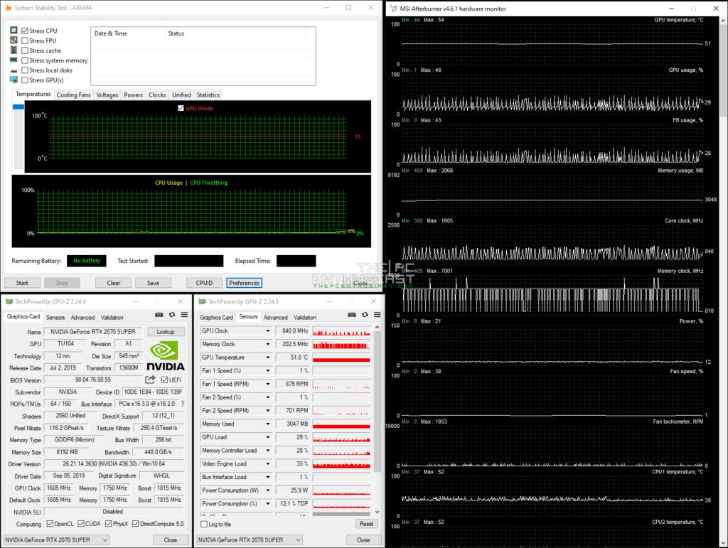 GALAX GeForce RTX 2070 Super EX idle temperature