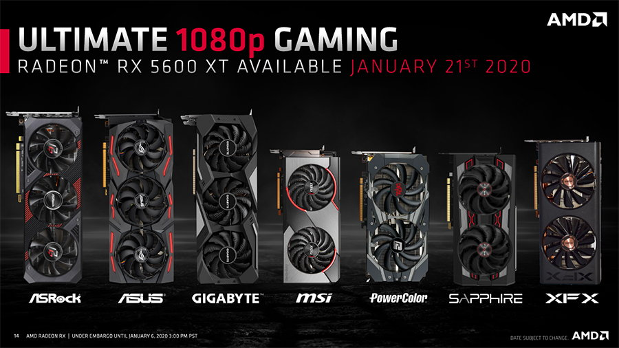 AMD RX 5600 XT定制设计的图形卡