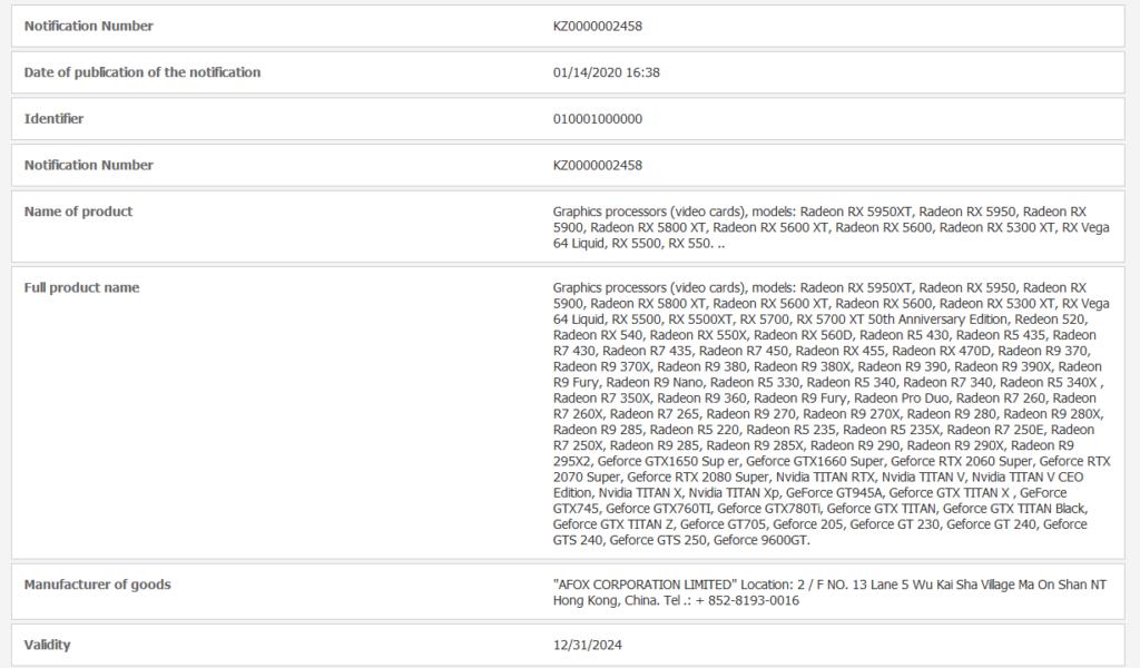 AMD Radeon RX 5950 XT EEC