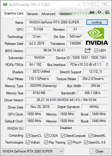 Galax RTX 2080 Super Work The Frames gpu-z